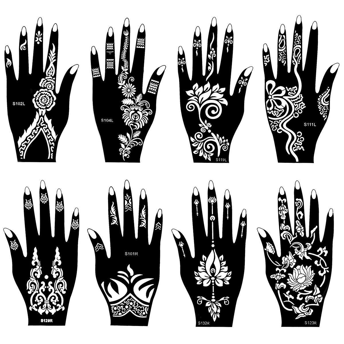 SKYMORE 8 PCS Henna Tattoo Stencil Temporary Tattoo Temples Set Indian Arabian Tattoo Reusable Stickers Stencils Body Art Designs for Hands 8.62''x 4.68'' by SKYMORE