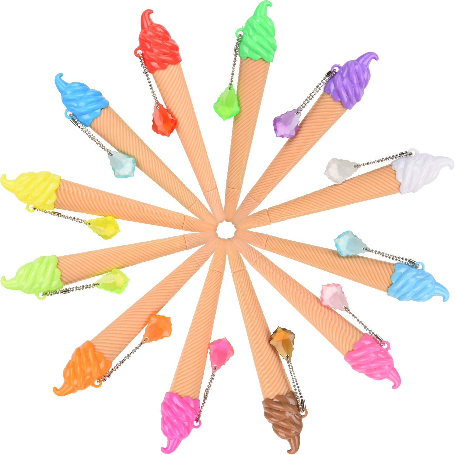 12 Pieces Christmas Ice Cream Pen Novelty Cute Ink Pen Assorted Color Writing Pen for Kids School Supplies Party Favor