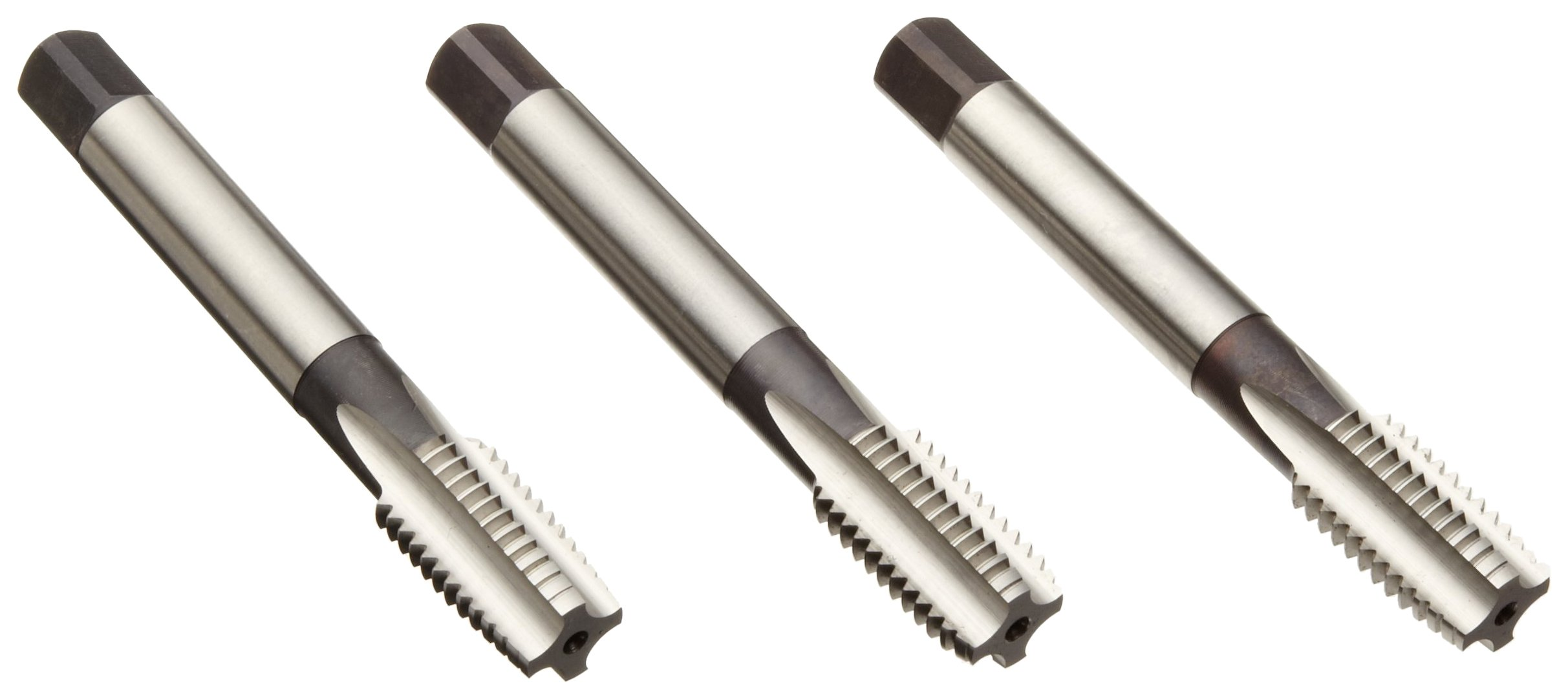 Dormer E500 High-Speed Steel Straight Flute Tap Set, Uncoated (Bright) Finish, Round Shank With Square End, 3-Piece Set (1 Taper, 1 Plug, 1 Bottoming Chamfer), M14-2.00 Thread Size