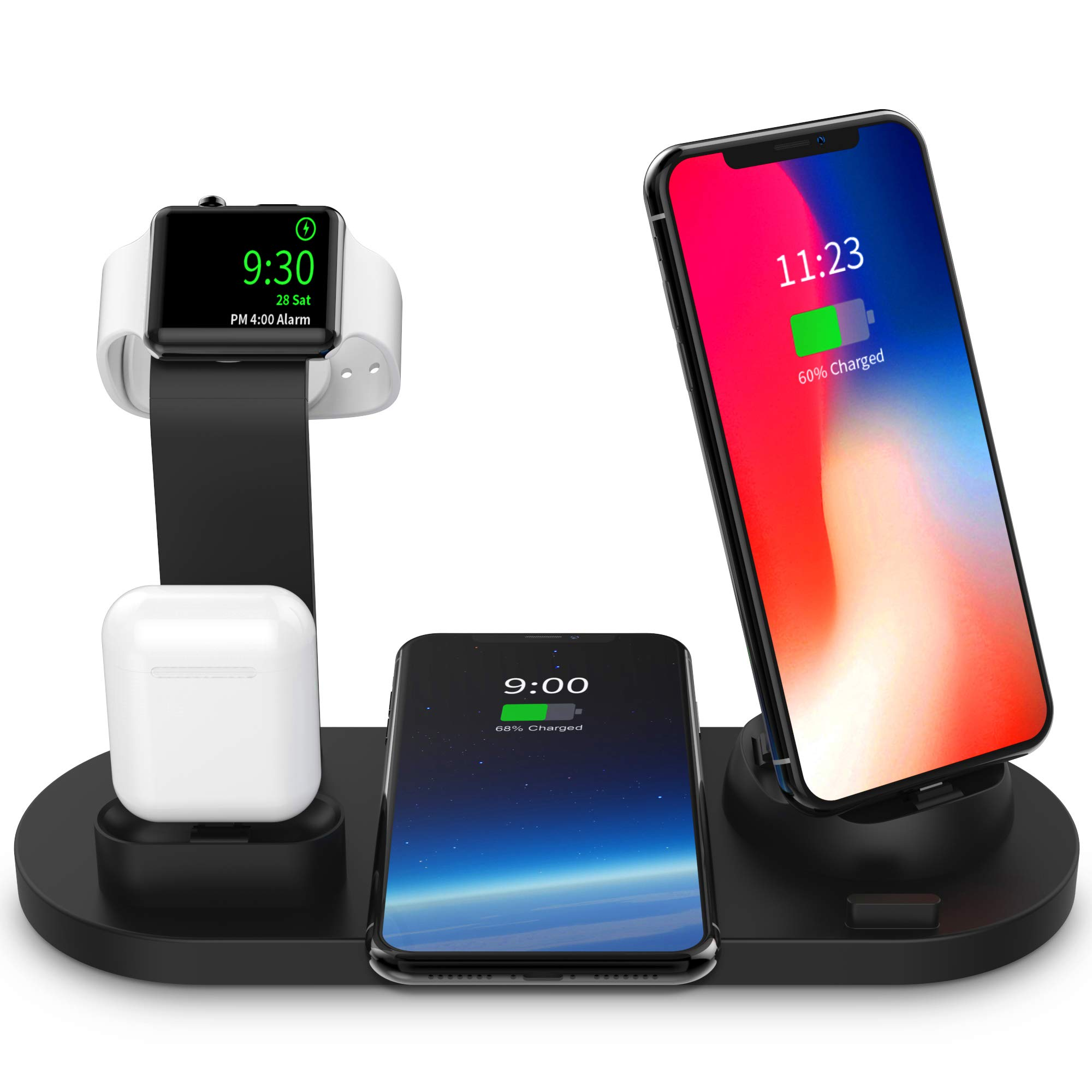 SODYSNAY Wireless Charger, 3 in 1 Wireless Charging Dock for Apple Watch and Airpods, Charging Station for Multiple Devices, Qi Fast Wireless Charging Stand Compatible iPhone X/XS/XR/Xs Max/8/8 Plus by SODYSNAY