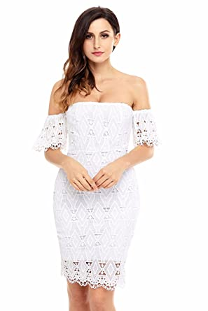 Summer Style White Short Sleeve Strapless Lace Bodycon Dress 2018 Women Sexy Mini Dresses Off Shoulder