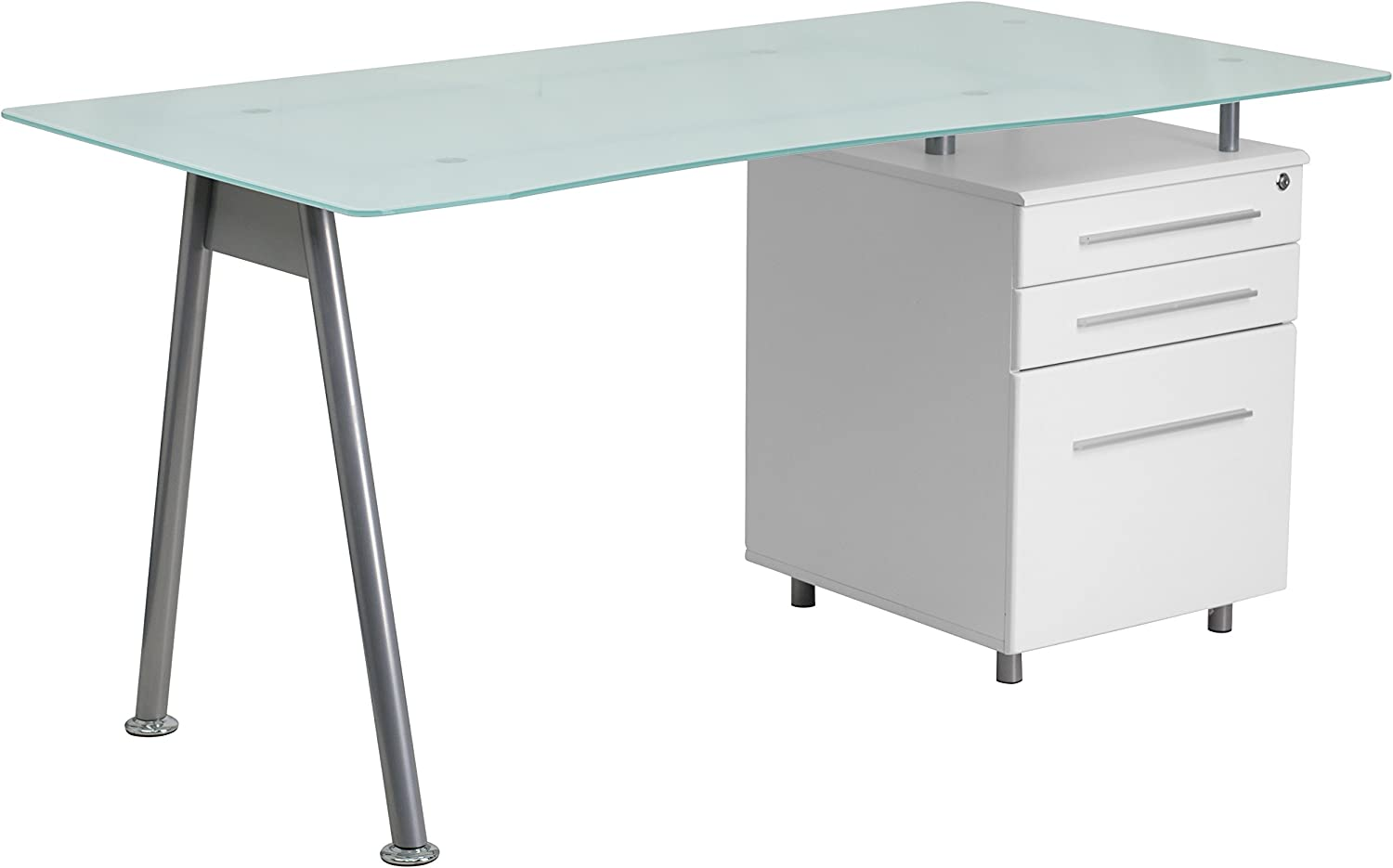 White Office/Computer/Office Desk with Glass Top and Three Drawer Pedestal