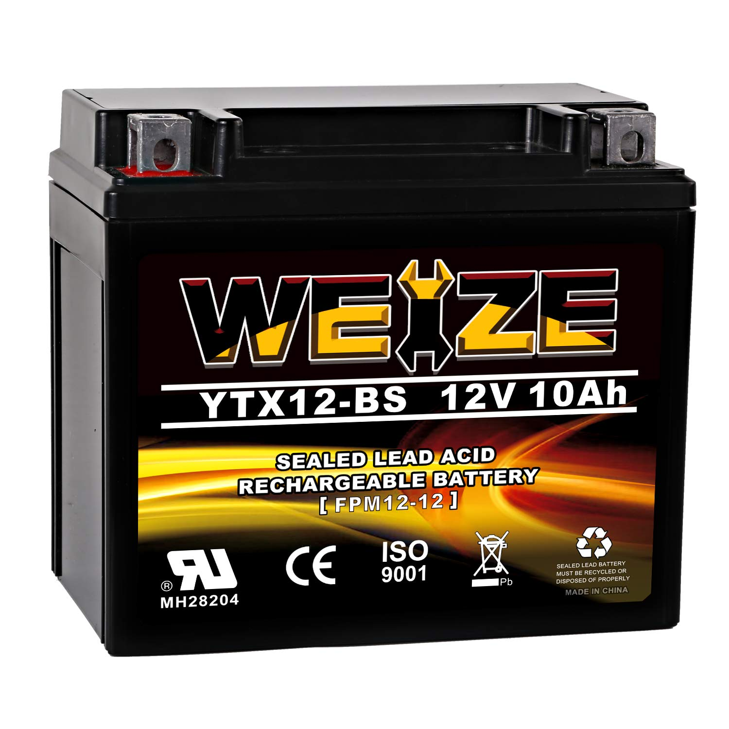 Weize YTX12-BS Motorcycle Battery High Performance - Maintenance Free - Sealed YTX12 BS AGM Rechargeable ATV Batteries For Honda Kawasaki Suzuki by WEIZE