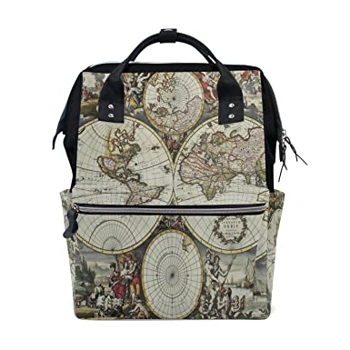 Amazon wozo old world map art multi function diaper bags wozo old world map art multi function diaper bags backpack travel bag gumiabroncs Images