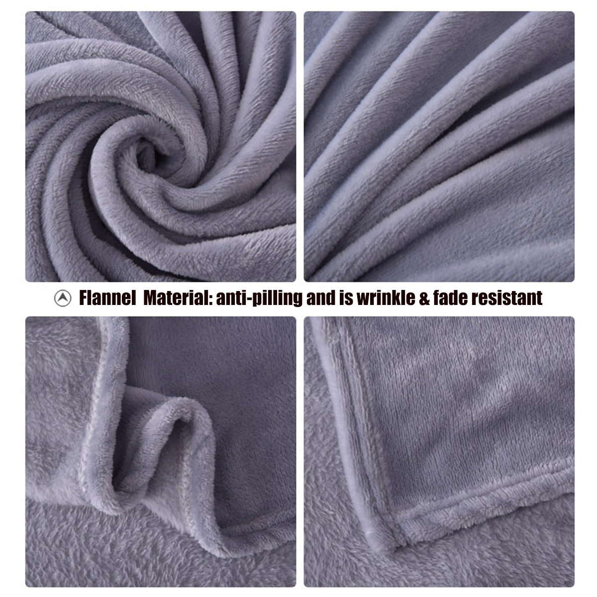 EASTSURE Soft Flannel Fleece Blanket Luxury Bed Sofa Throw Lightweight Summer,Grey,59x79 59x79