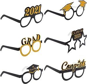 Ioffersuper 12 Pack Graduation Glasses 2021 Graduation Photo Props Novelty Cap Glasses Eco-Friendly Paper Eyeglasses Glitter Grad Party Glasses for 2021 Graduation Party Supplies Decors
