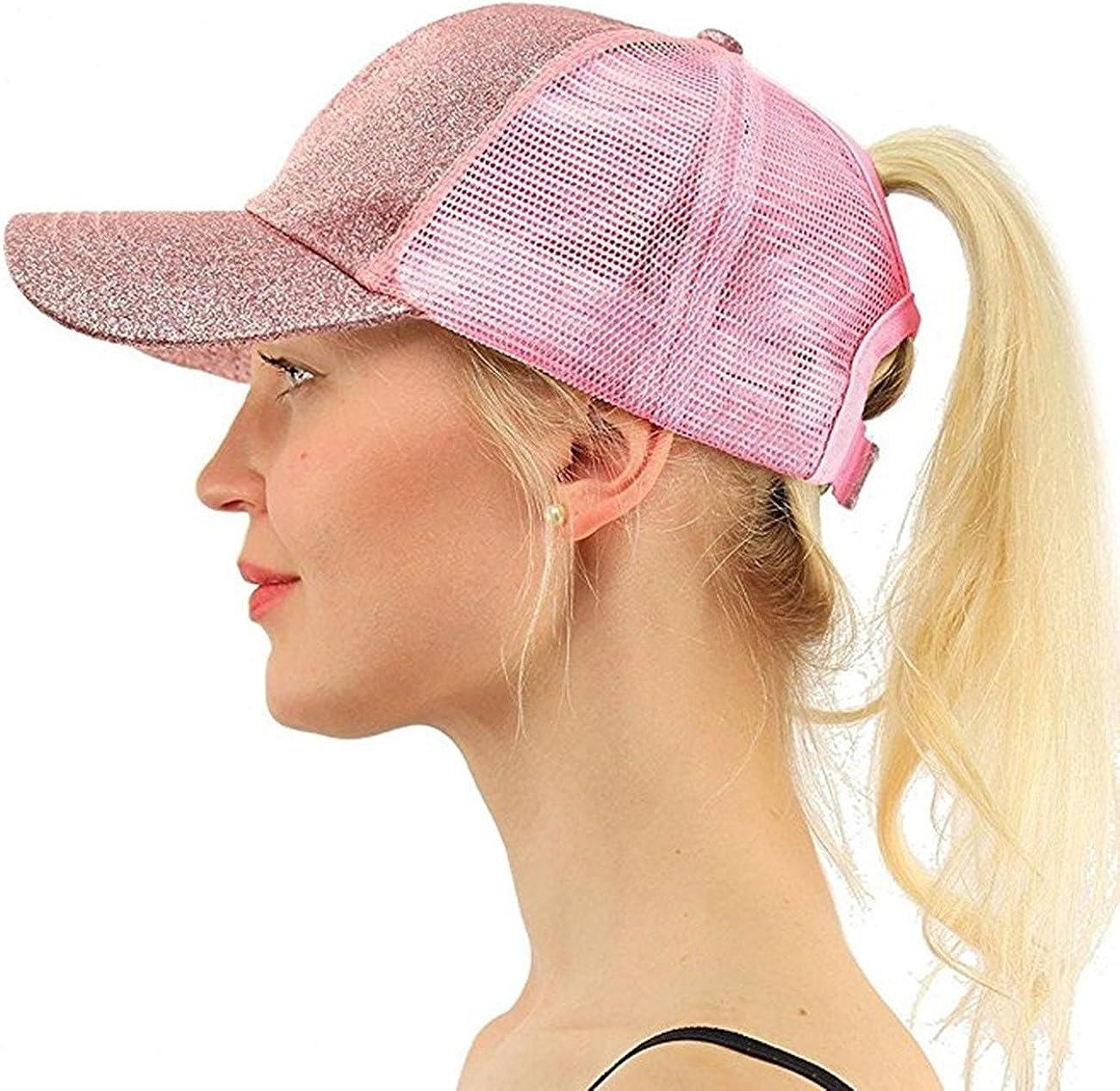 M/_Eshop 2 Pack of Ponytail Baseball Cap Messy High Bun Adjustable Mesh Trucker Sun Hat