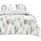 Wake In Cloud - Botanical Duvet Cover Set, Pink Dandelion Flowers and Green Leaves Floral Garden Pattern Printed on…