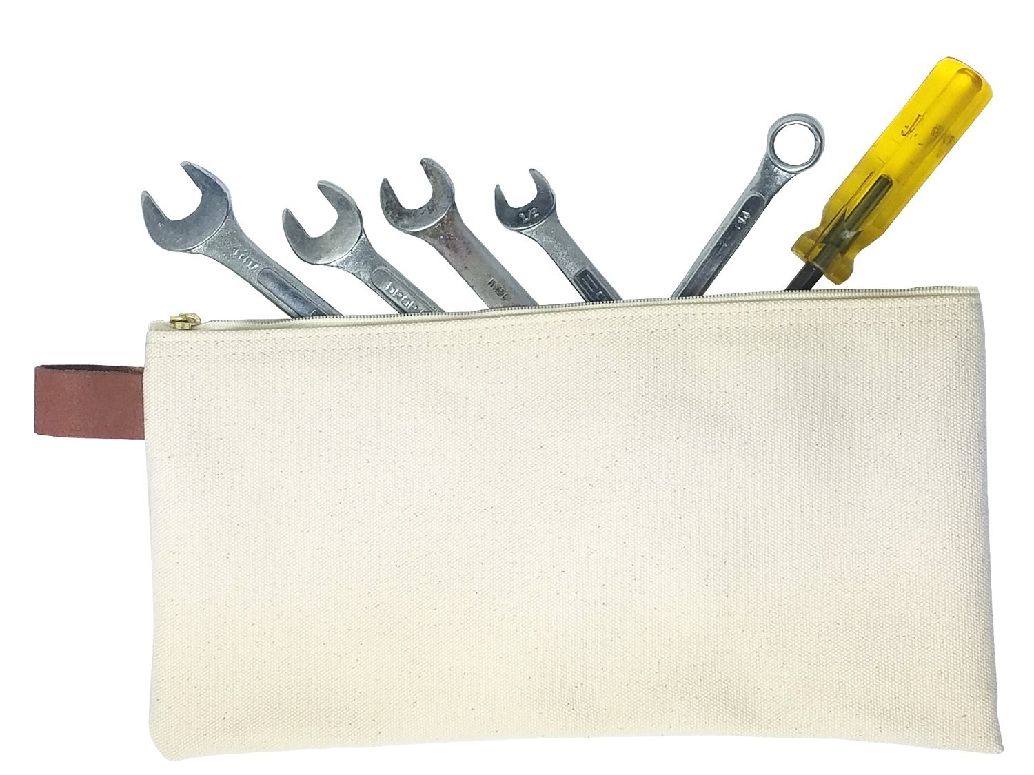 Heavy Weight Natural Canvas Zippered Tool Pouch 2-PACK ( MADE IN USA ) by Canvas Products Group