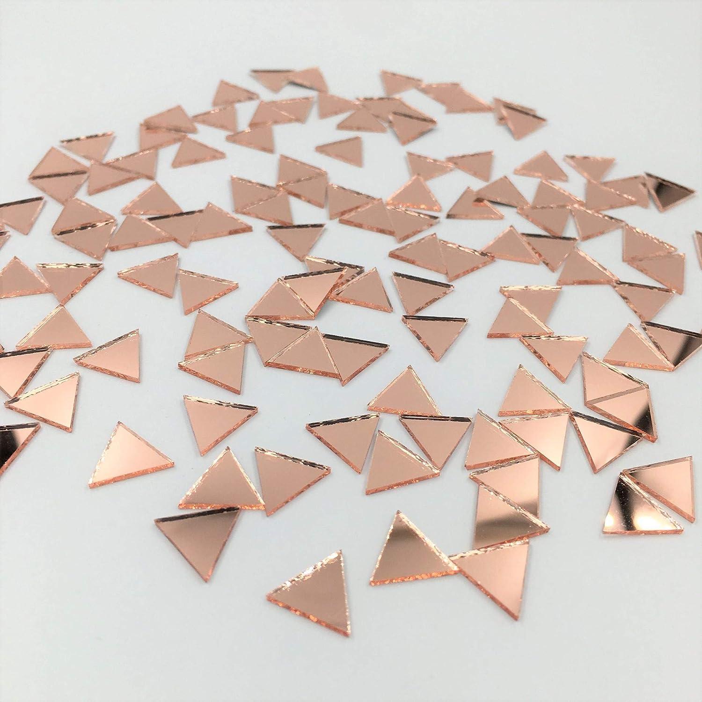 15mm Triangular Shape Mirror Mosaic Tiles Rose Gold Craft Mirror 120 Pieces