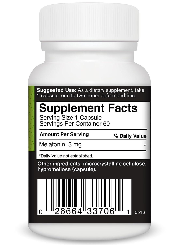 Amazon.com: FoodScience Of Vermont Melatonin-3 Mg Capsules, 60 Count: Health & Personal Care
