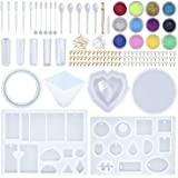 EuTengHao 178Pcs DIY Casting Silicone Resin Molds Kit Contains Glitter Powder Jewelry Necklace Pendant Resin Molds Big 3D Hea