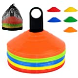 YOQXHY Soccer Cones (50 Pcs) Disc Cone Agility Training Sports Cone Plastic with Carry Bag & Holder for Kids Football Basketb