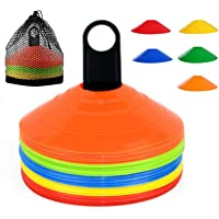 YOQXHY Soccer Cones (50 PCS) Disc Cone Agility Training Sports Cone Plastic with Carry Bag & Holder for Kids Football…