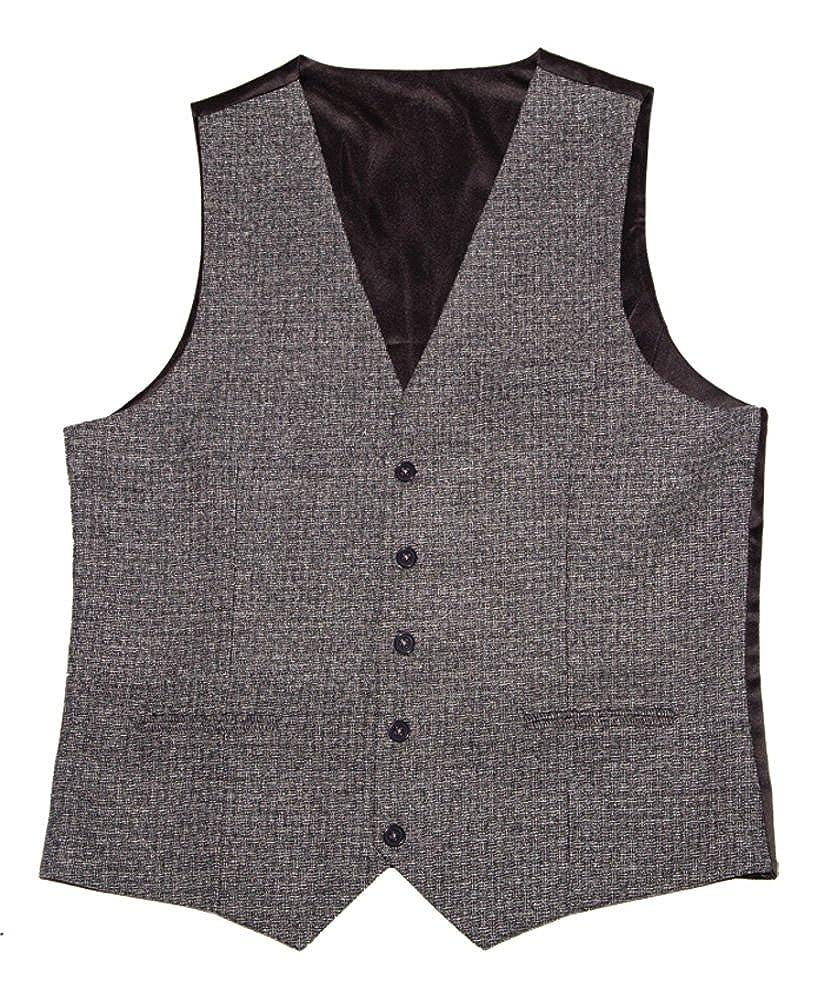 LA Smith Mens Slim Fit Waistcoat Textured Grey
