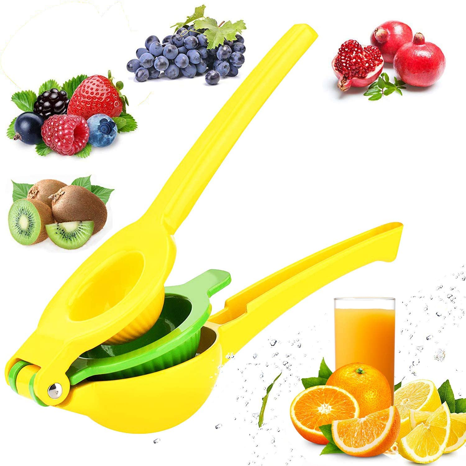 Lemon Lime Squeezer -Premium Quality Metal Manual Citrus Press Juicer with 2 in 1 Double Layer Orange Citrus Press Heavy Duty Fruit Press for Party Drink(Yellow Green)