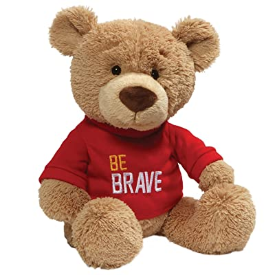 "GUND Be Brave Red T-Shirt Teddy Bear Stuffed Animal Plush, Tan, 12.5"": Toys & Games"