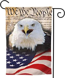 American Memorial Independence Day Eagle Bird Garden Flag 12x18 Small House Outdoor Yard Flags Banner Cute Mini for Holiday Outside Home 3D Summer Decor Farmhouse Decorations Double Sided
