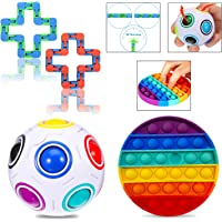 ADD OCD 2 Pack Stress Relief Autism Special Needs Sensory Fidget Toys Ababuli Push Pop Bubble Fidget Sensory Toy Rainbow Pop Fidget Toy for Kids Adult Unicorn- Rainbow /& Purple ADHD