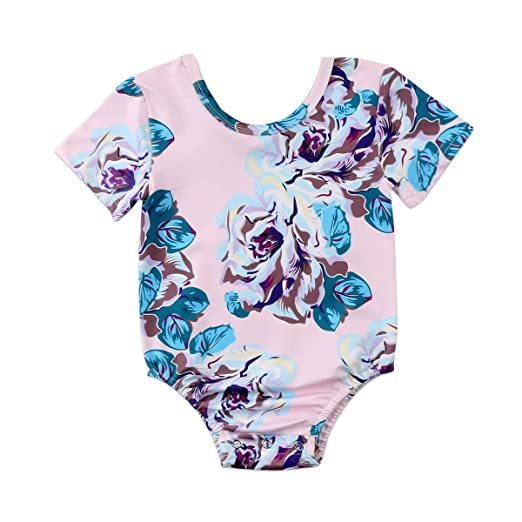 d0780704a938 XARAZA Infant Baby Girls Floral Romper Bodysuit Xmas Outfit Clothes (Short  Sleeve