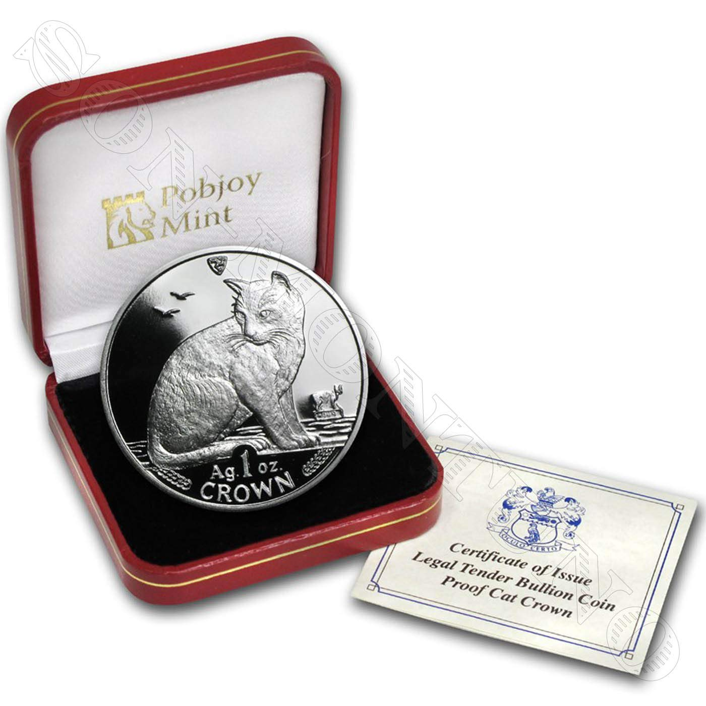 Brand New from the Mint in Box with Certificate of Authenticity Isle of Man 1 Oz .999 Silver Proof Crown Coin 1990 NEW YORK ALLEY CAT COIN