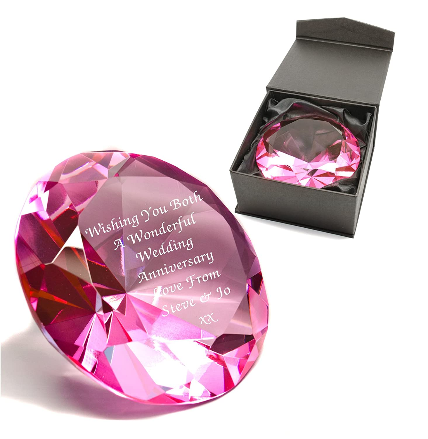 Personalised Diamond Shape Crystal Cut Glass Paperweight, Laser ...