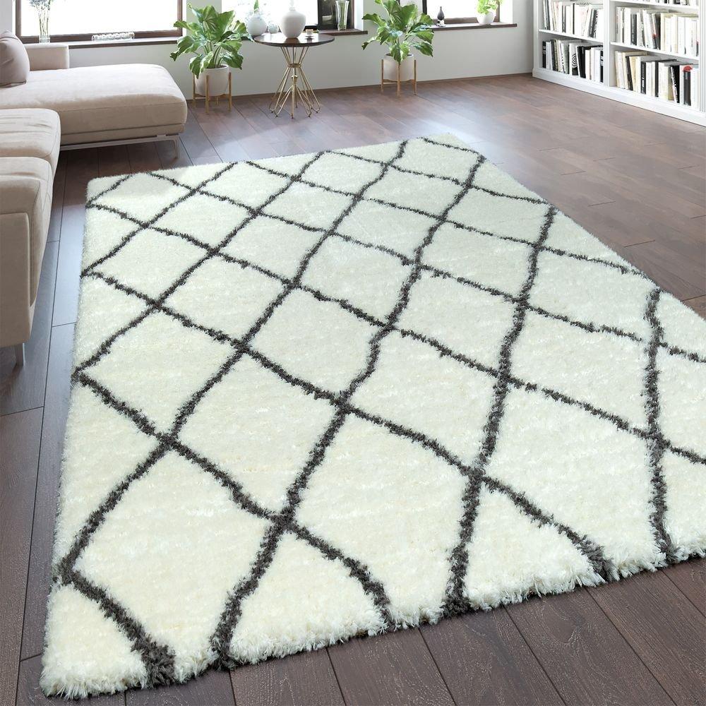 Paco Home Hochflor Teppich Kuschelig Modern Shaggy Flokati Stil Rauten Muster Creme, Grösse 200x290 cm