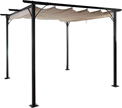 Pergola Avila, Cenador prikker-überdachungen, estructura estable de 6 cm + schiebedach 3 x 3 m: Amazon.es: Jardín
