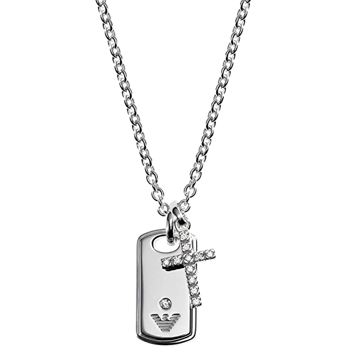 Emporio Armani Women s Sterling Silver Dog Tag   Cross Necklace EG3063040  in Gift Box  Amazon.ca  Clothing   Accessories bd1b2a924