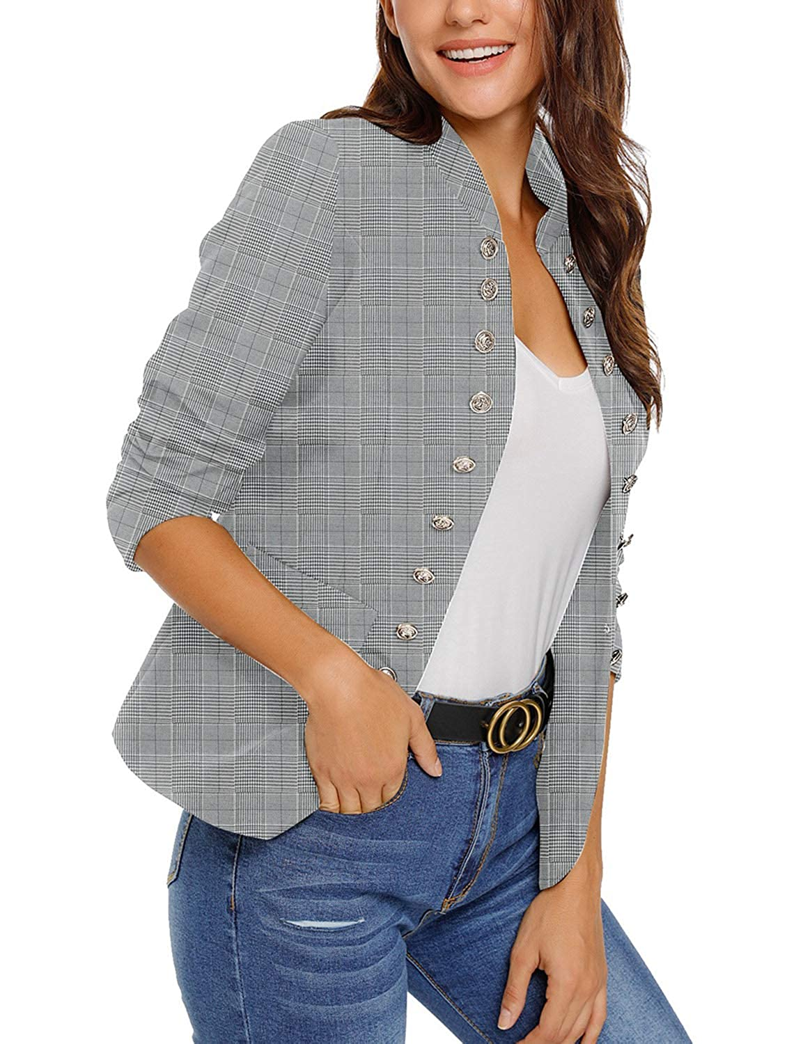 Maolijer Womens Open Front Buttons Work Office Blazer Casual Cardigan Business Jacket Suit with Pockets