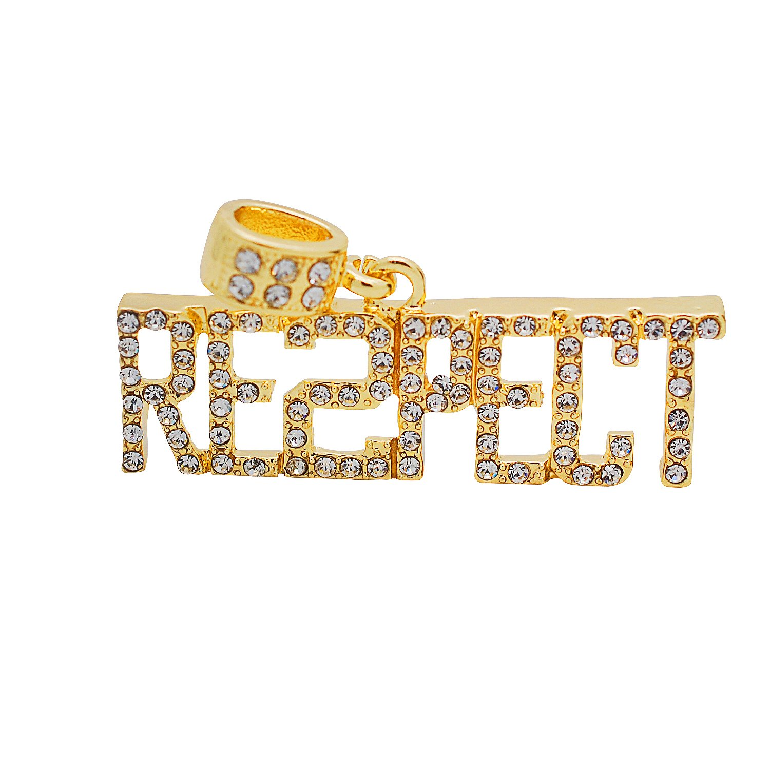 Yellow Gold-Tone Hip Hop Bling Simulated CrystalRE2PECT Letter Pendant with 24 Tennis Chain and 24 Rope Chain