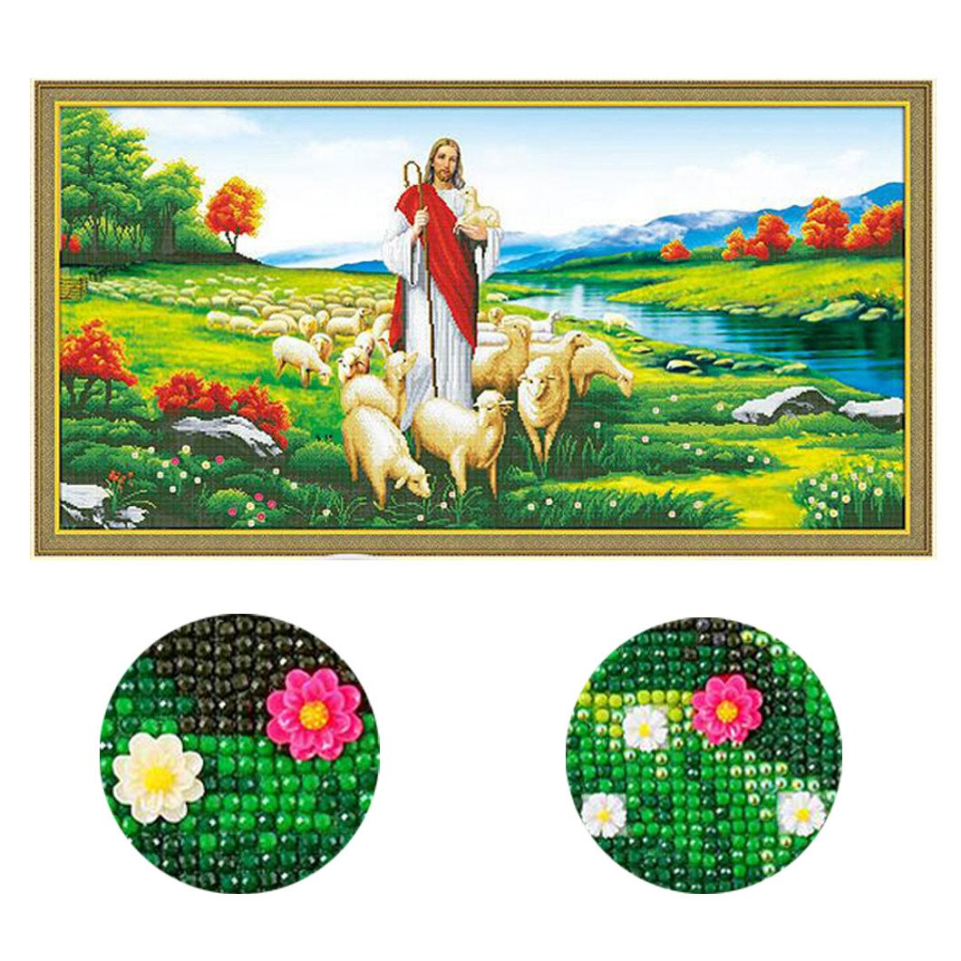 Mazixun Special Shaped 5D DIY Diamond Painting Cross Stitch Diamond Embroidery Beaded Diamond Mosaic Religious Portrait Of Jesus Sheep 142x75cm