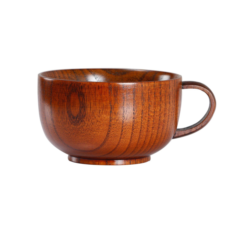 Geeklife Jujube Wood Coffee Mug,Japanese Wooden Soup Bowl, Brown 300 ml