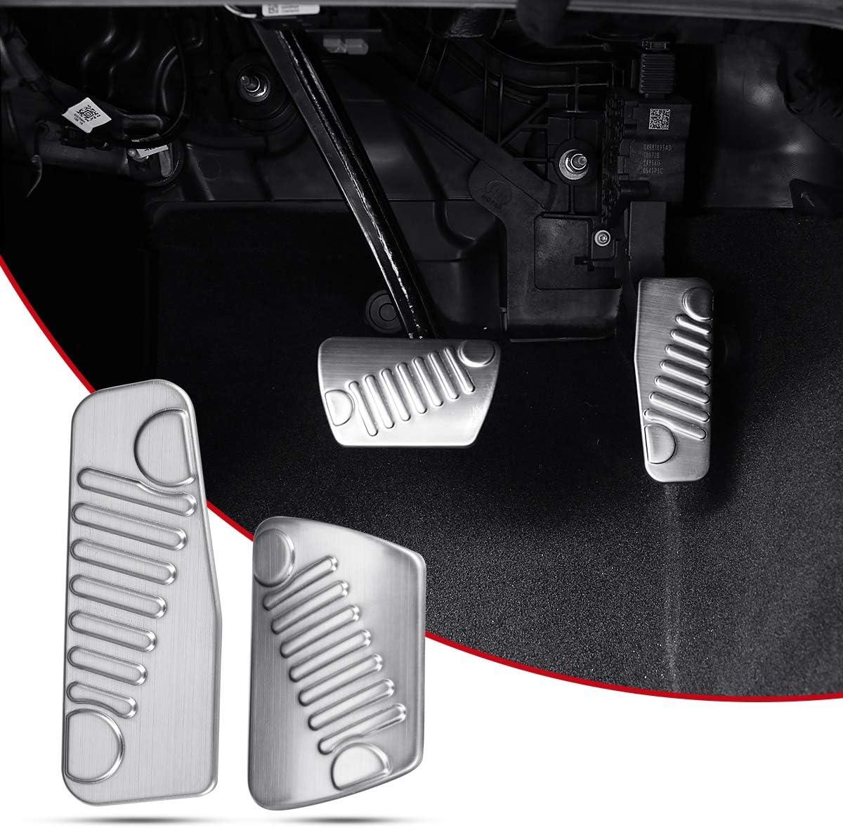 ZGBADMAN Stainless Steel Foot Pedal Set kit Auto Foot Pedal Pads Pedal Accelerator Brake Pad Trim Cover for Jeep Wrangler JL 2018 2pcs//Set Black