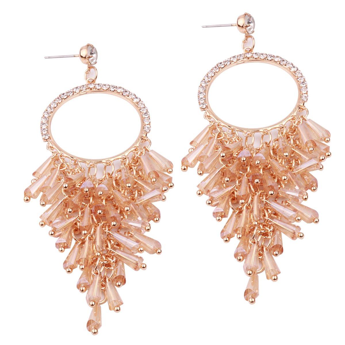 Women`s Bohemian Classical Tassel Drop Earrings Statement Earrings Beaded Earrings, Gift for Her (Light Brown)