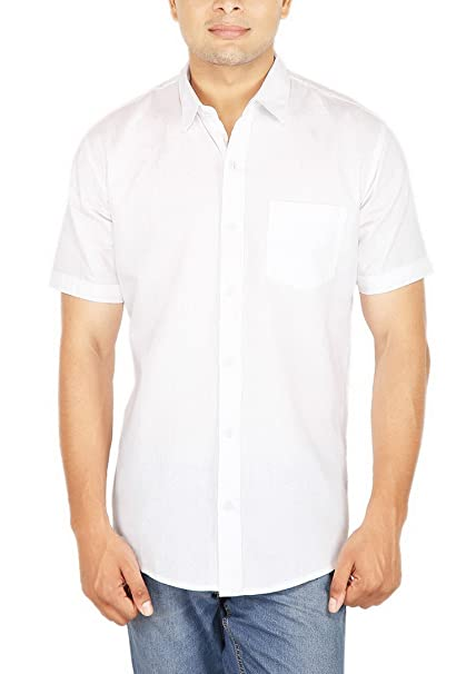5f7c7f1f ELEPANTS Men's Cotton Linen Half Sleeve Solid Casual Shirt (White, 2XL):  Amazon.in: Clothing & Accessories