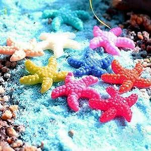 DAWEIF 10pcs Mini Resin Cute Multicolor Miniature Starfish Fish Tank Aquarium Ornaments Decor