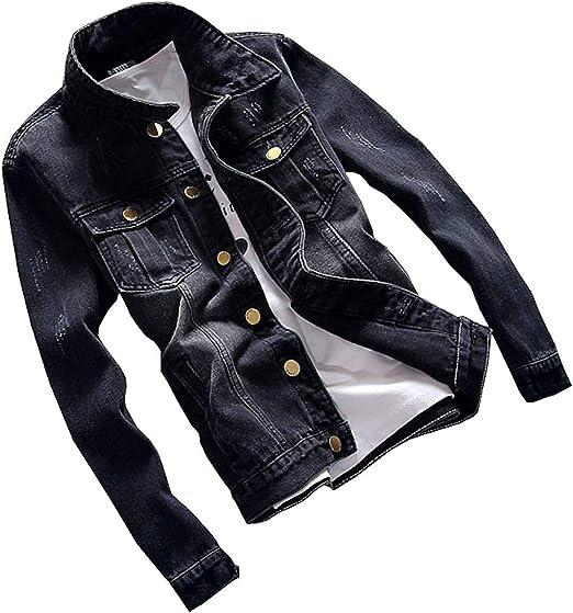 Men Jacket Classic Jacket Men's Coat Slim Fit Plus Size Black Denim Jacket