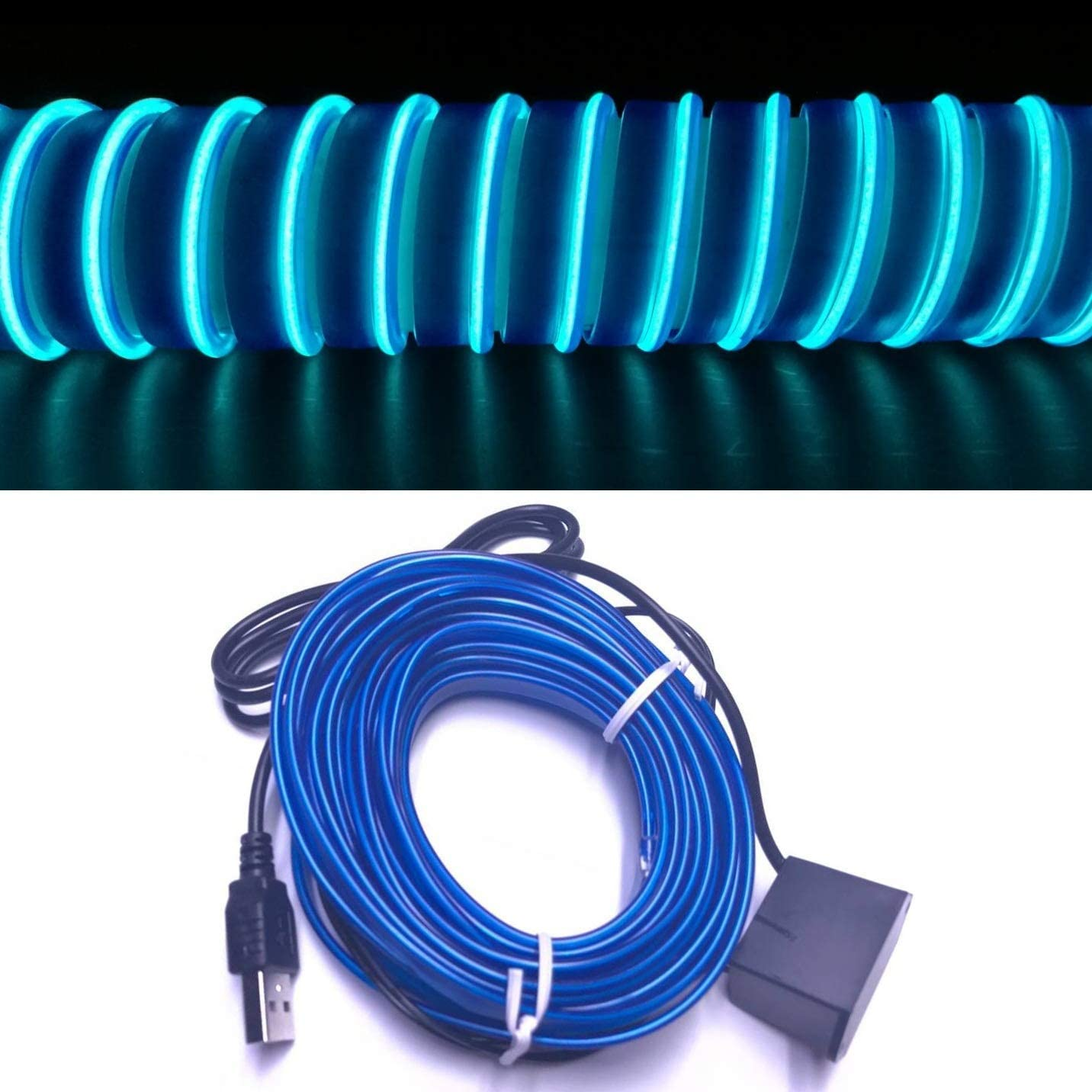 Ice Blue, 5 M USB Neon LED Light Glowing Electroluminescent Wire//El Wire for Automotive Interior Car Cosplay Decoration with 6mm Sewing Edge