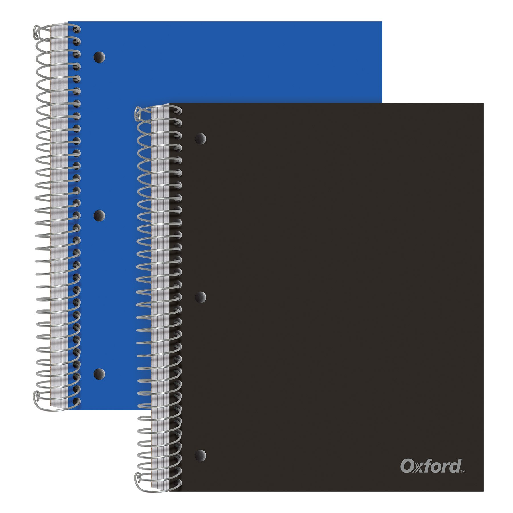 Oxford 3-Subject Poly Notebooks, 9'' x 11'', College Rule, Assorted Color Covers, 150 Sheets, 3 Poly Divider Pockets, 2 Pack (10386)