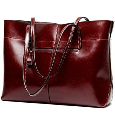 Genuine Leather Horizontal Type Tote Bags Large Size
