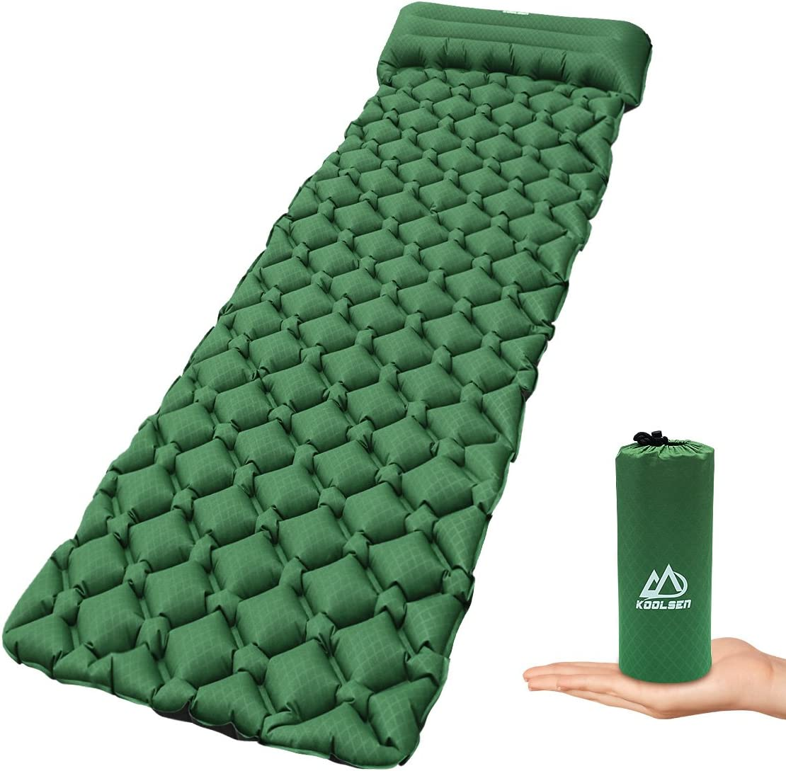 KOOLSEN Ultralight Sleeping Pad – Ultra-Compact for Backpacking, Camping, Travel w Air-Support Cells Design with Integrated Pillow-Green