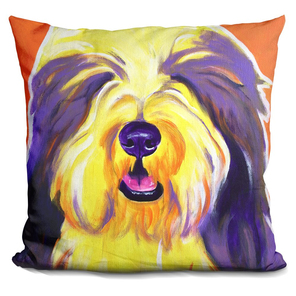 LiLiPi Bearded Collie-Banana Decorative Accent Throw Pillow iLeesh ARL890-SQ-16