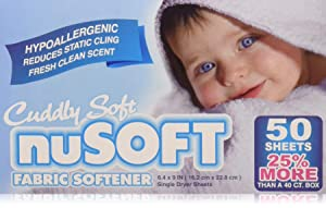 NUSOFT Hypoallergenic Fabric Softener Dryer Sheets