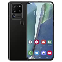 7.2in HD Smartphone, Contract Phone, Dual Card Dual Standby Mobile Phone, Face Recognition Phone, Fingerprint Unlock, for Android 10.0(Black)