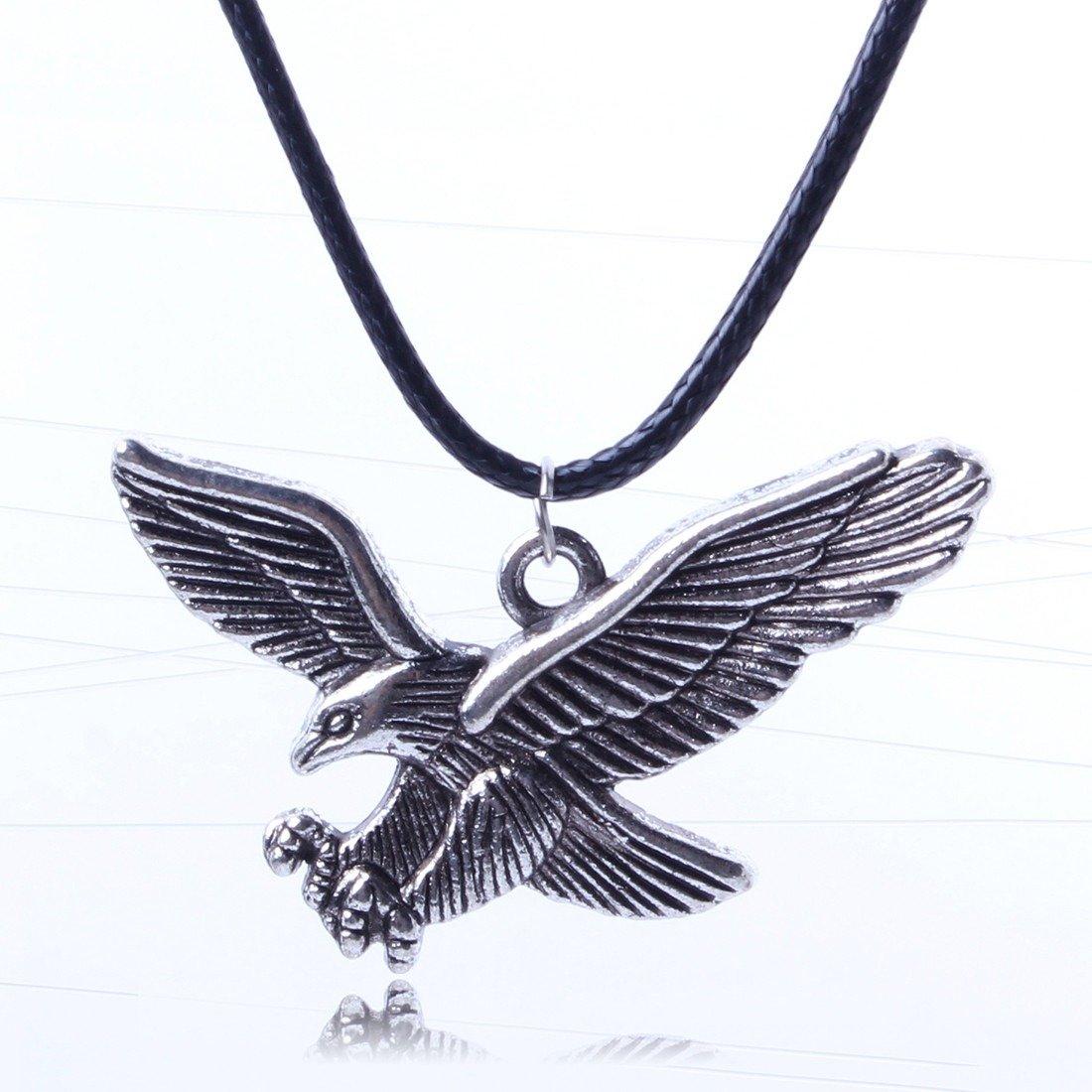 Qiyun Hunting Eagle Bird Vintage Retro Tibet Silver Pendant Black Rope Cord Necklace Chasse Aigle Oiseau Argent Vintage Noir Corde Cordon Collier W005N1461