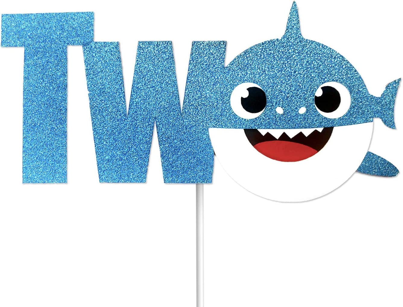 "OMG Party Factory - Baby Cute Shark Cake Topper 2nd Birthday""TWO"" For Boys - Cake Decoration and Party Supplies (Blue)"