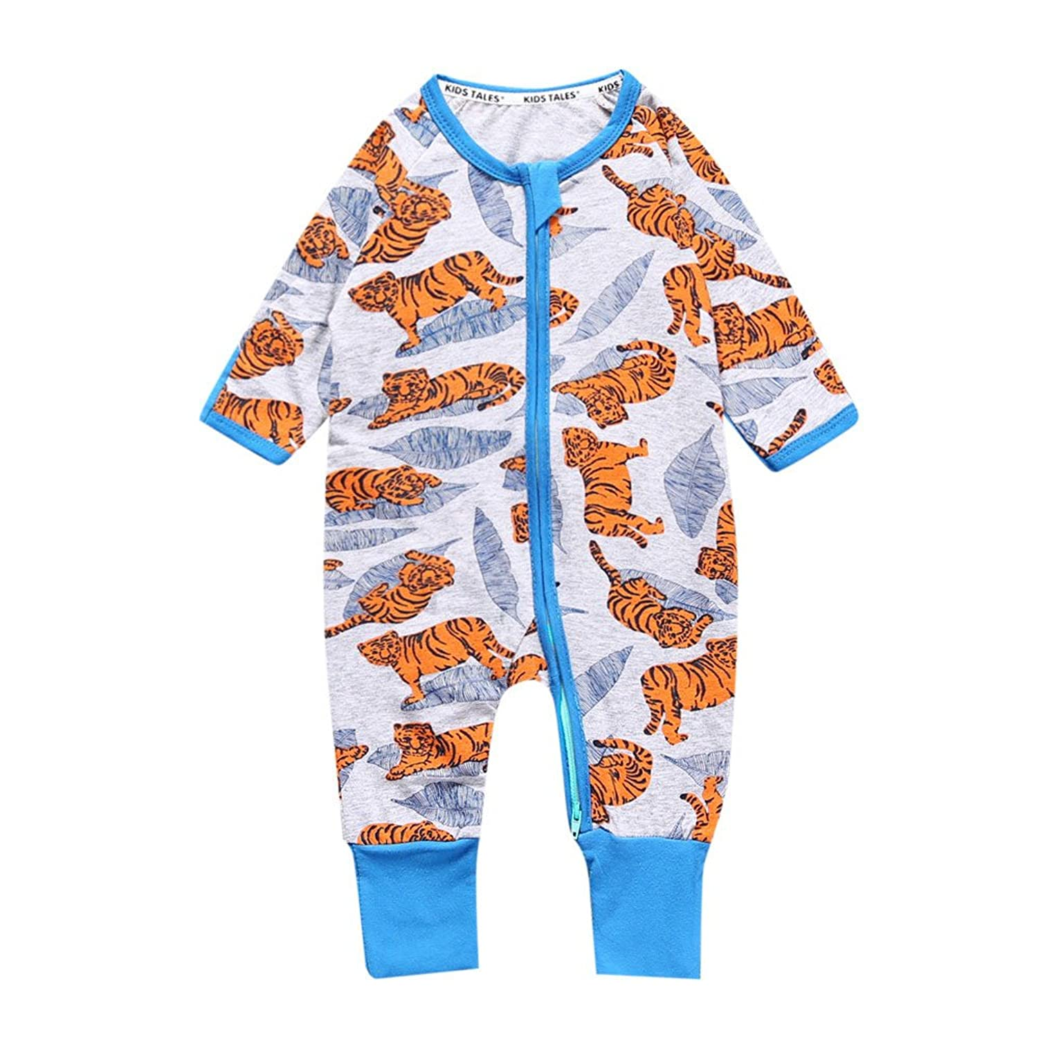 0ad2065993e8 Kids Tales Baby Tiger Footed Zipper Pajama Sleeper Cotton Romper(Age ...