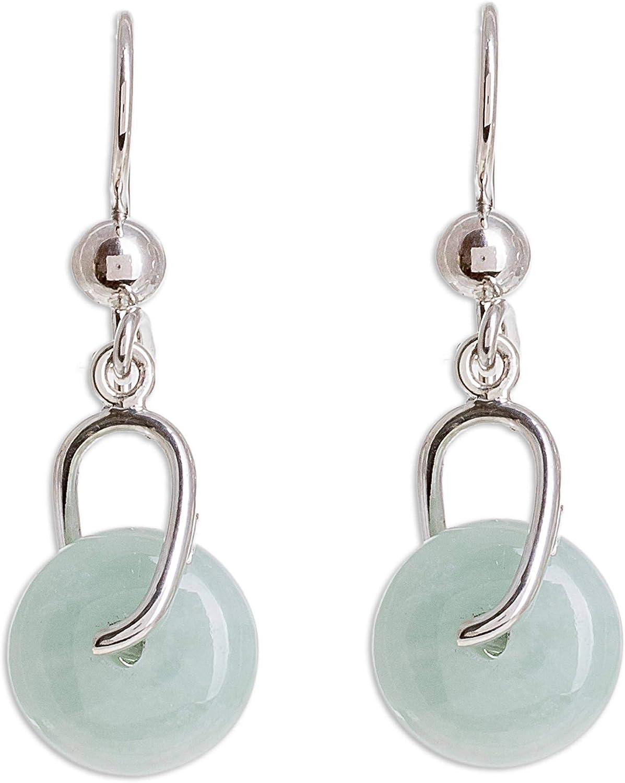 NOVICA Jade .925 Sterling Silver Dangle Earrings, Apple Green Wheel of Fortune'