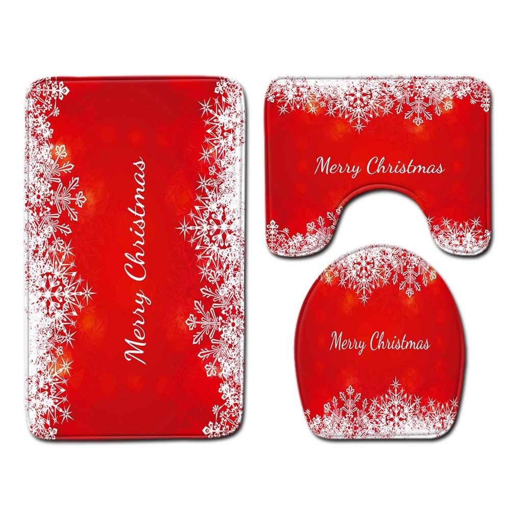 Color : A Buon Natale Stampa Tappeto Include Piazza Mat Mat U Forma WC Coprire Shower Curtain Antiscivolo E Confortevole LY//WEY 3 Pc//Insieme Bagno Privato Servizi Igienici Mat Set